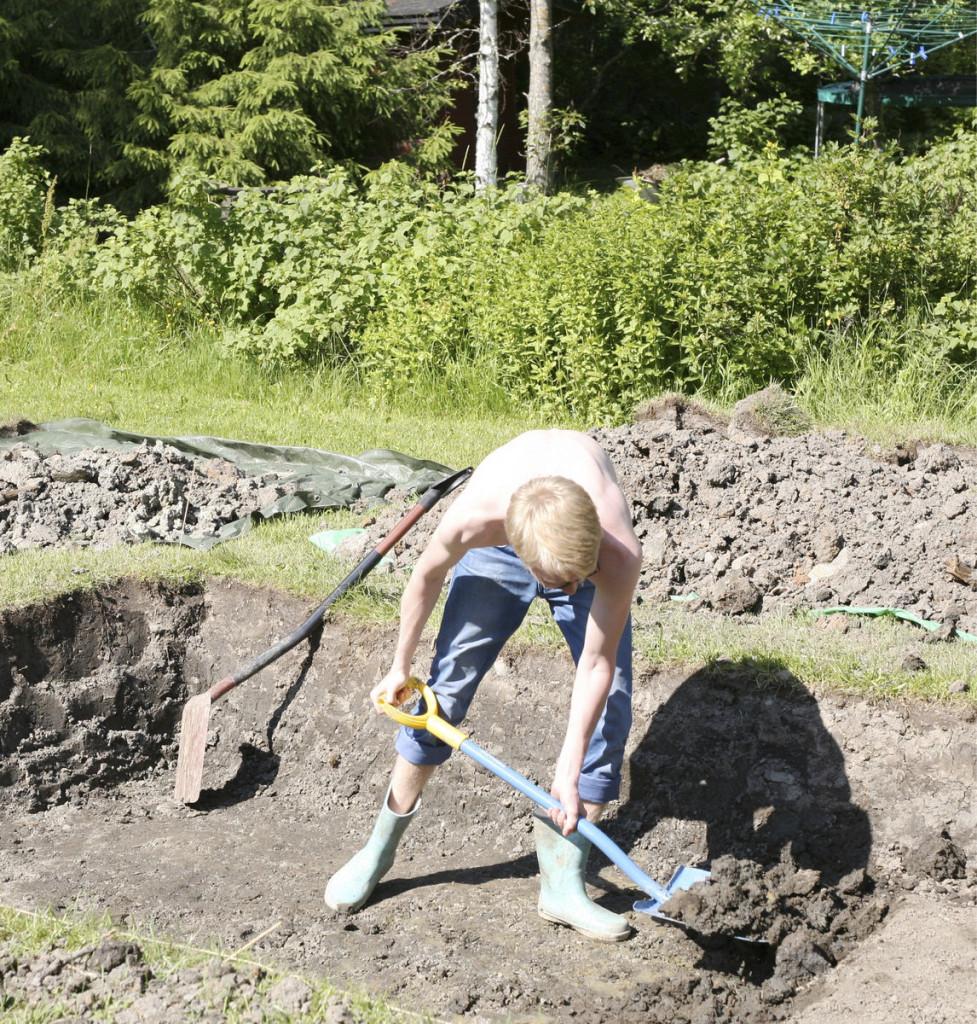 Kasvihuonetta leveämmän ja pidemmän noin 80 cm syvän kuopan kaivaminen kovaan savimaahan vei pienissä erissä tehtynä melkein viikon.