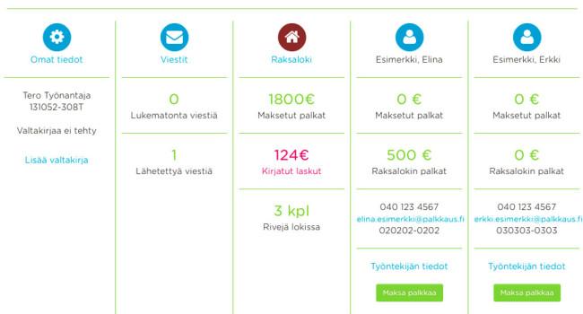 Palkkaus.fi-palkanmaksu verkkopalvelu ja raksaloki