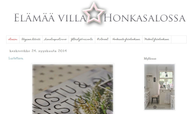 Sisustusblogi Elämää Villa Honkasalossa
