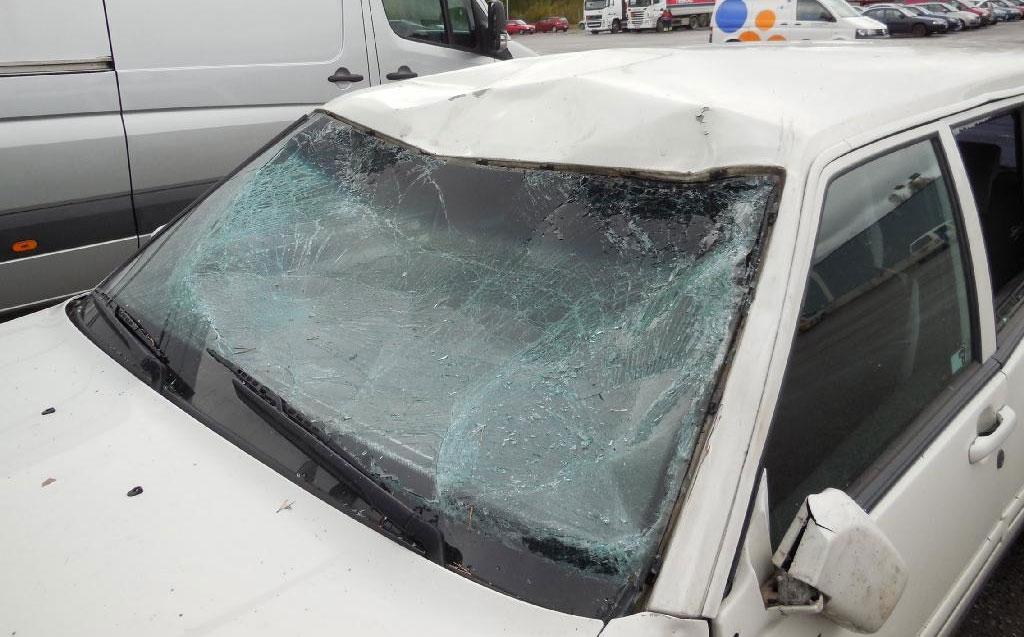 Hirvieläinkolari - vaurioitunut auto