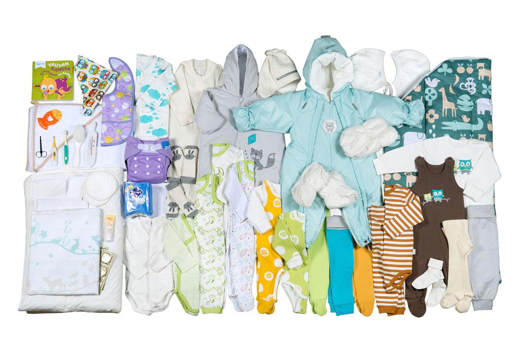 Äitiyspakkauksen tuotteet