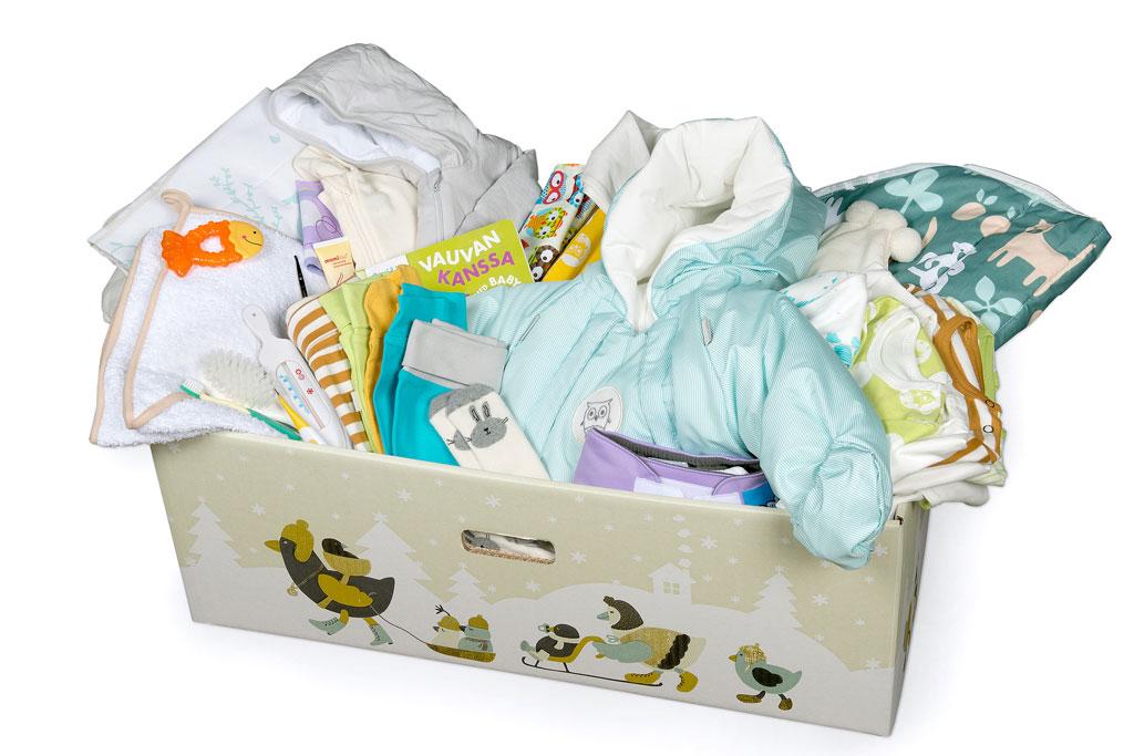 Äitiyspakkaus - vuodelaatikko ja tuotteet
