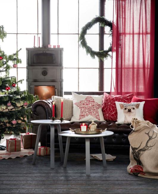 Perinteinen punainen väri on suosittu myös joulukuusen koristeissa. Kuva: H&M Home
