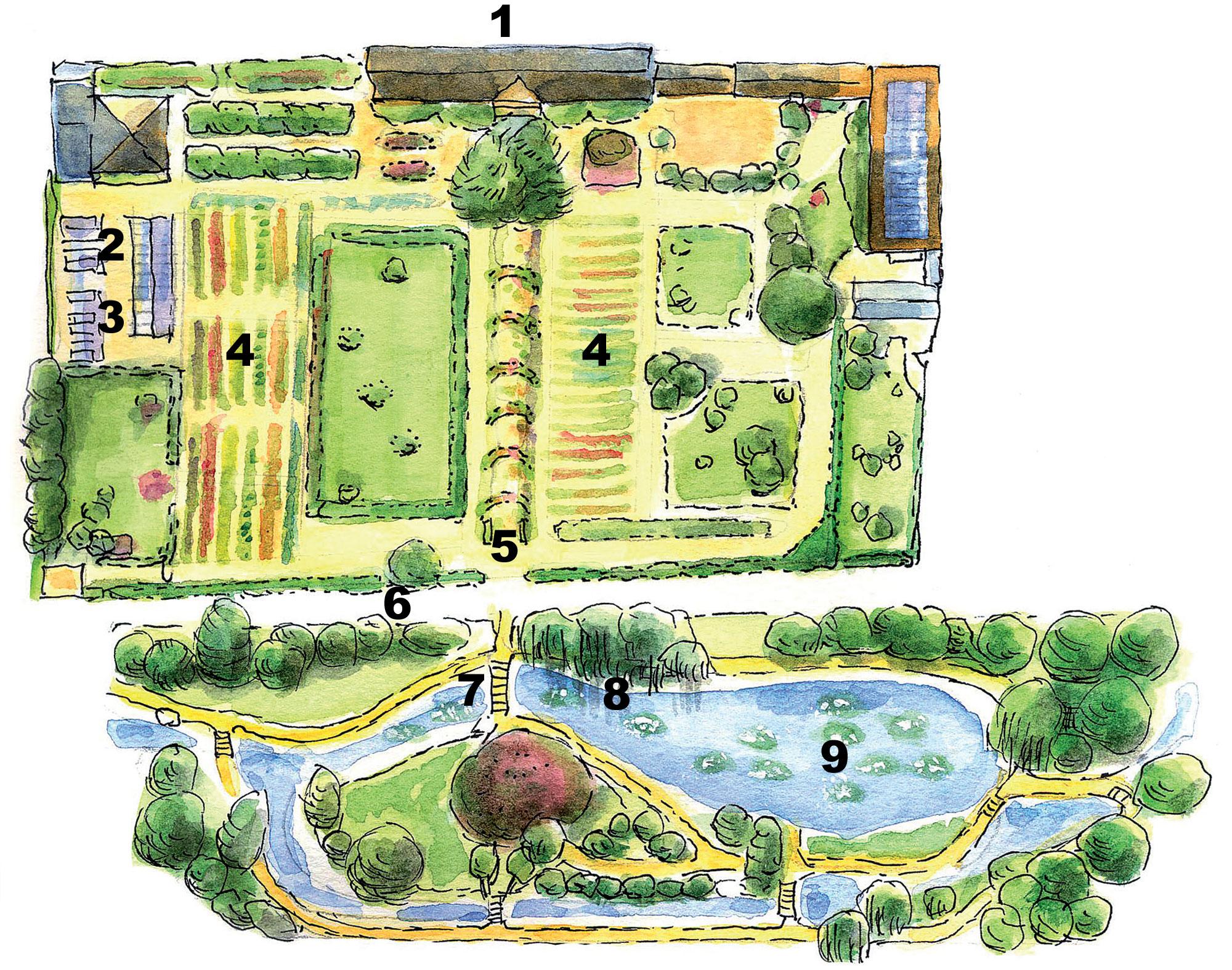 Givernyn puutarhan pohjapiirros