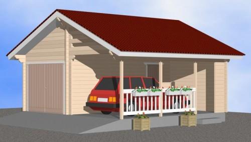Tallijohan 39 -mallin autotalli ja katos, Timber-Hirsi