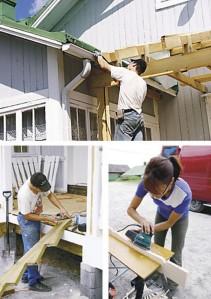 Pystypalkkien päälle naulattiin poikittaispuut kattotuolia tukemaan. Kattotuoli rakennettiin kakkosvitosesta. Toni Ristimäki rakensi kuistille johtavat portaat kestopuusta. Johanna Minkkinen työsti kaidepuut koristesahalla.