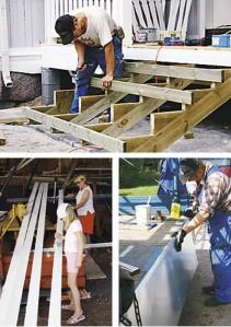Portaat rakennettiin kestopuusta. Ammattimiehet asensivat peltikaton. Sisäkaton laudat maalattiin valkoiseksi ennen asennusta. Maalipensseliä heilutti myös talon emäntä Mariia-tyttärensä kanssa. Peltikatto maalattiin myöhemmin.
