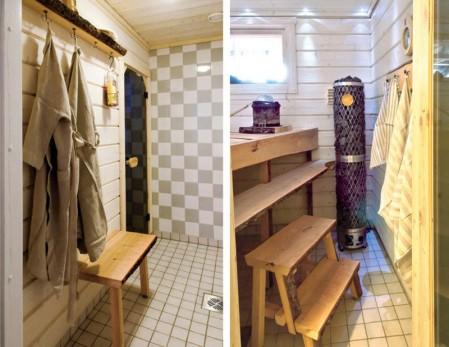 Kaljan Puuseppä teki mittatilaustyönä Uman ja Silvon saunaan lauteet sekä pesutilaan penkin ja hyllyn.