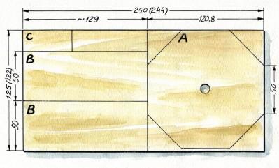 Radan osat syntyvät yhdestä 15 millin Wisa-spruce –havuvanerilevystä