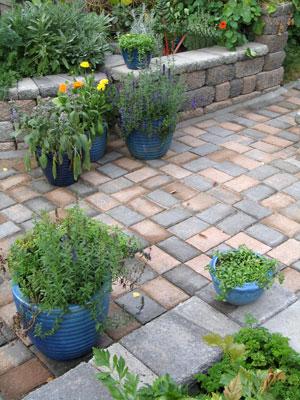 Puutarhaa täydennettiin ruukuin. Niissä voi kasvattaa yksittäiskasveja ja ne tuovat myös lisäväriä.