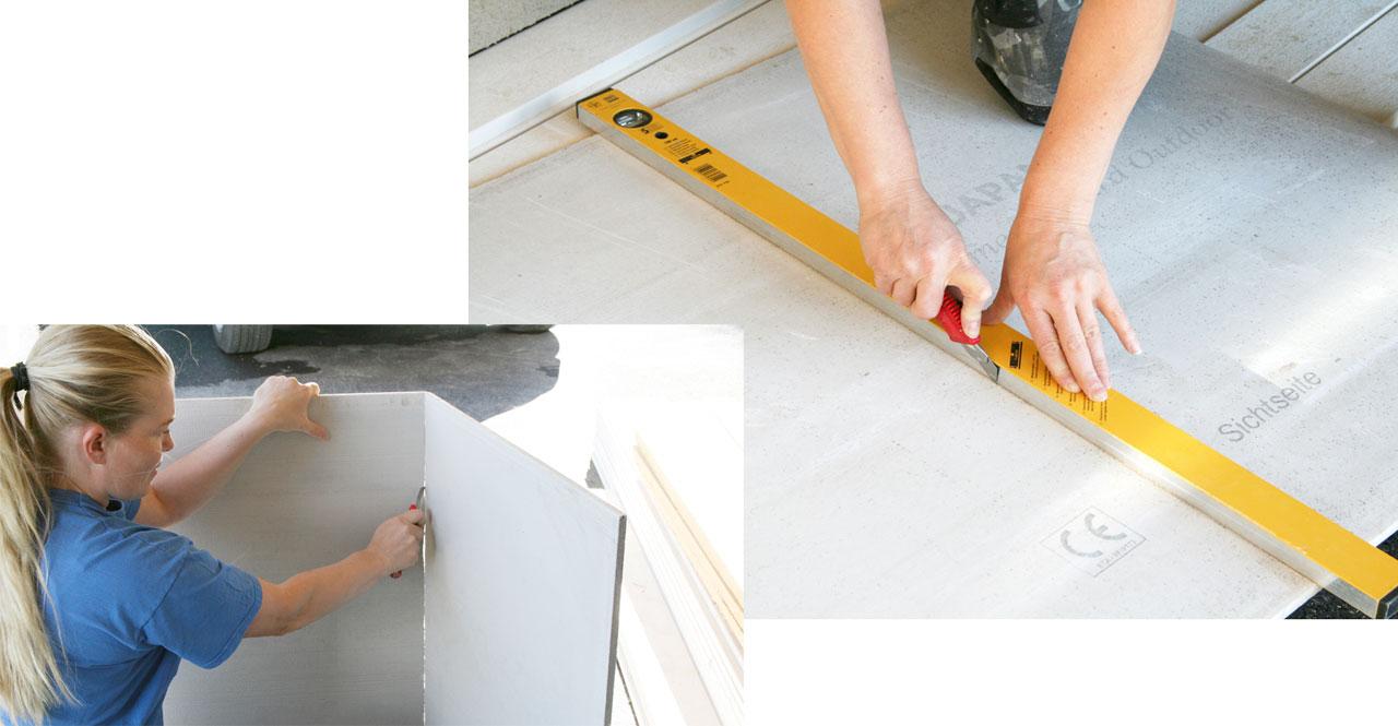 Aquapanel outdoor -levyt on tehty kevytsorasta ja sementistä, lisäksi ne on vahvistettu lasikuituverkolla molemmin puolin. Levyjen työstö käy kätevästi mattopuukon avulla. Leikkaa viilto mattopuukolla levyn pintaan ja taita. Viillä vielä levyn takapuolelta verkko halki ja pala on valmis. Työstöominaisuuksiltaan verrattavissa kipsilevyyn.