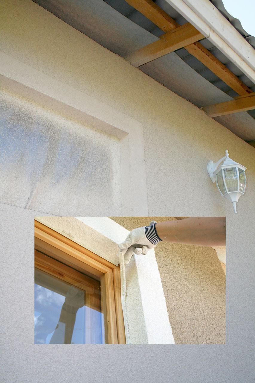 Ovien ja ikkunoiden smyygien hiertopinnoituksen jälkeen suojalistat poistettiin. Reunoista tuli siistit. Osa listaa jää karmiin kiinni ja näin ollen viimeistelee sisäkulman.