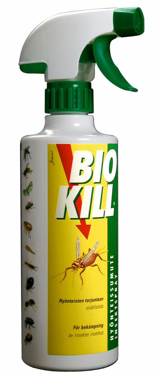 Sokeritoukkien, turkiskuoriaisten ja muiden kodin tuhohyönteisten karkottamiseen sopii pitkävaikutteinen Bio Kill 480 ml hinta noin 12 €, Berner.
