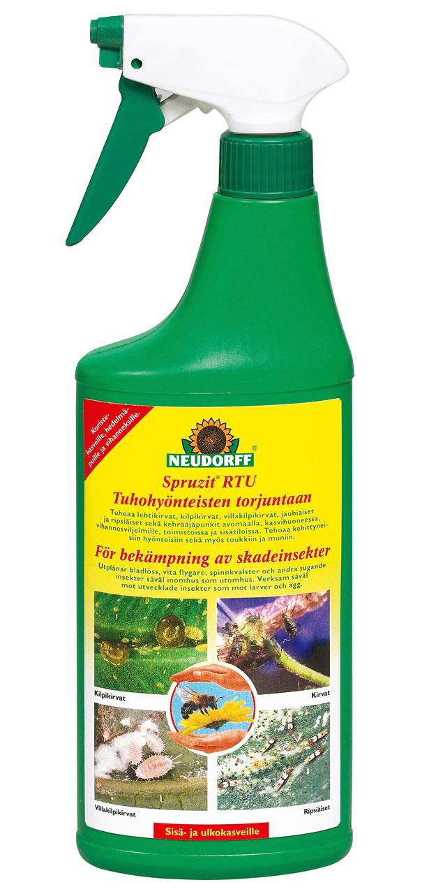 Auta kirvojen kiusaamaa viherkasvia ruiskuttamalla Spruzitia. Luonnonmukainen torjunta-aine tehoaa myös villakilpikirvaan, toukkiin ja muniin, mutta ei vahingoita esimerkiksi mehiläisiä. Voidaan käyttää sisällä ja ulkona ja myös hyötykasveille. Valmis suihkute 500 ml maksaa noin 12 € ja 250 ml tiivistettä noin 14 €. Maahantuoja Esbau Oy.