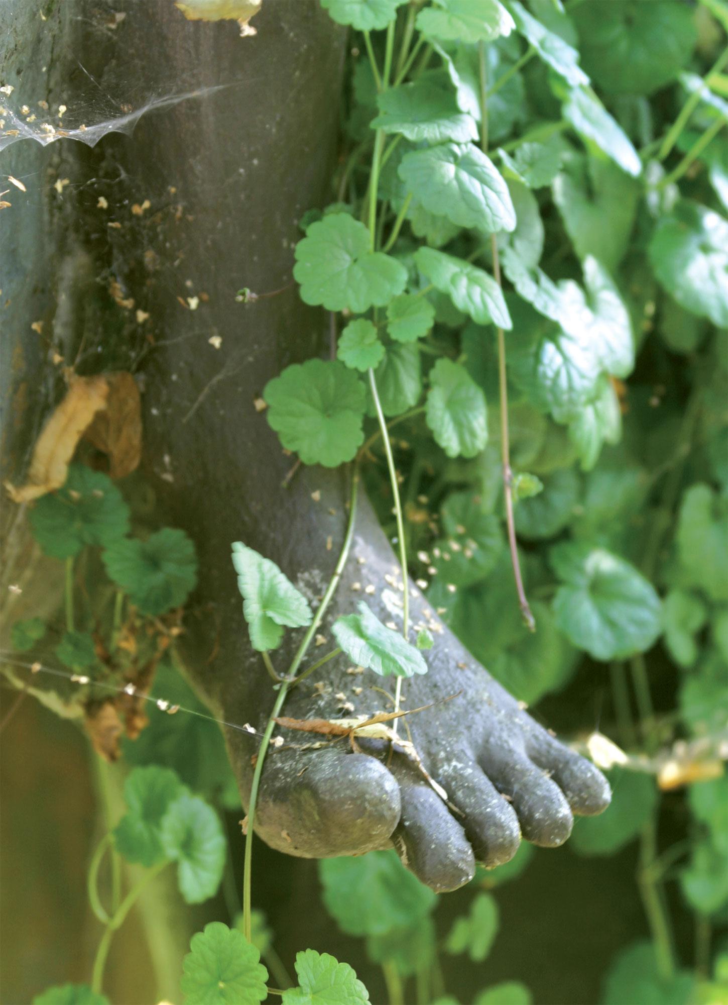Monissa veistoksissa on kasvien istutusaltaita. Maahumala saa suikerrella vapaasti patsaan päällä.
