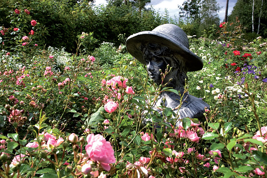Helmi-neito patsas 'Fairy'-ruusujen ympäröimänä.