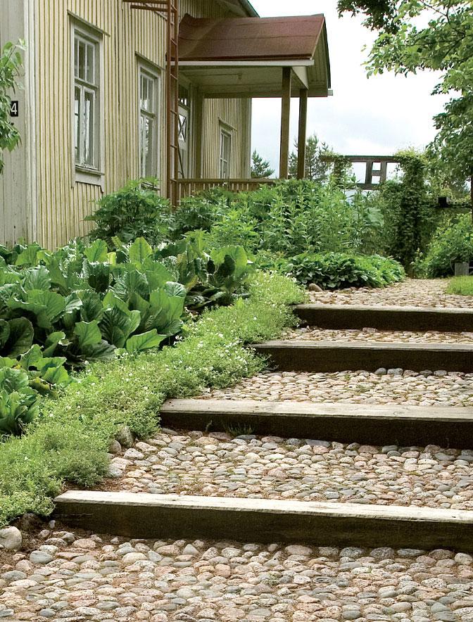 Markku on kivennyt vanhalle talolle vievän portaikon mukulakivillä.