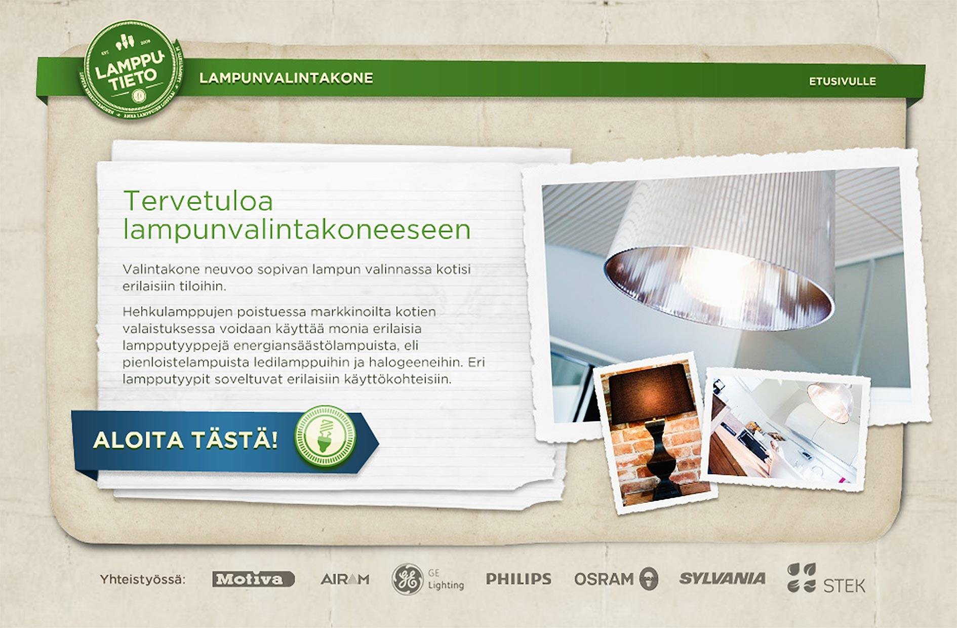 Lampunvalintakone.fi-sivuston etusivu