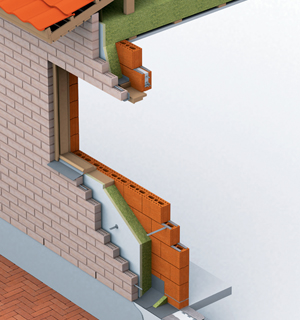 Täystiilitalon runko muurataan massiivisista isoreikäisistä runkotiilistä. Niiden ulkopuolelle asennetaan lämpöeristeet, jotka sidotaan runkorakenteeseen erityisillä siteillä. Lämpöeristeen ja ulkovuorauksen väliin jätetään tuuletusrako. Täystiilitalon eriste voi olla esimerkiksi villaa tai SPU-eristettä. Myös eristepaksuus on muunneltavissa.  Kuva: Wienerberger Oy.