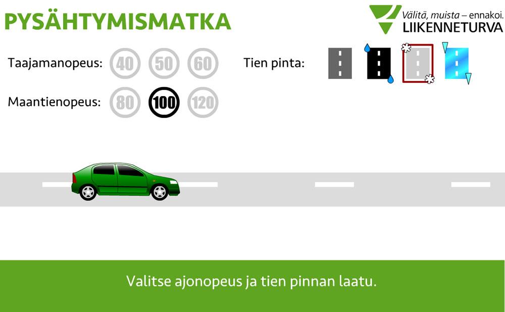 Auton pysähtymismatkatesti liukkaalle kelille kätevästi netissä.