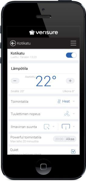 Lämmityksen ja viilennyksen ohjaus - Verisure mobiilisovellus