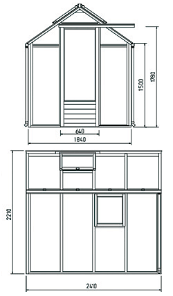 4 m² puukasvihuone 3 mm karkaistu lasi