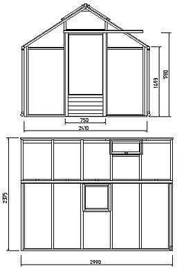 2 m² puukasvihuone 3 mm karkaistu lasi