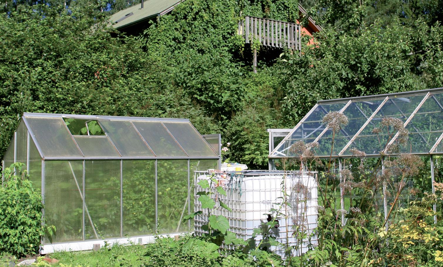 Kasvihuonet sijaitsevat talon eteläpuolella