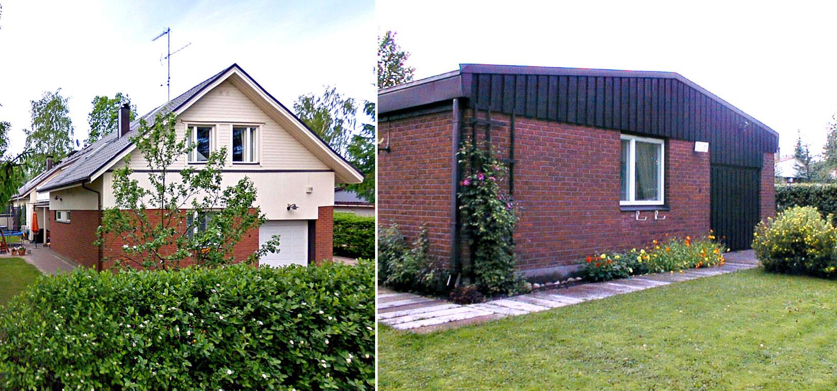 Oikealla talon A-asunnon autotallipääty ennen toisen kerroksen rakentamista, vasemmalla autotallipääty remontin jälkeen. Vasen kuva Google Maps Street View.