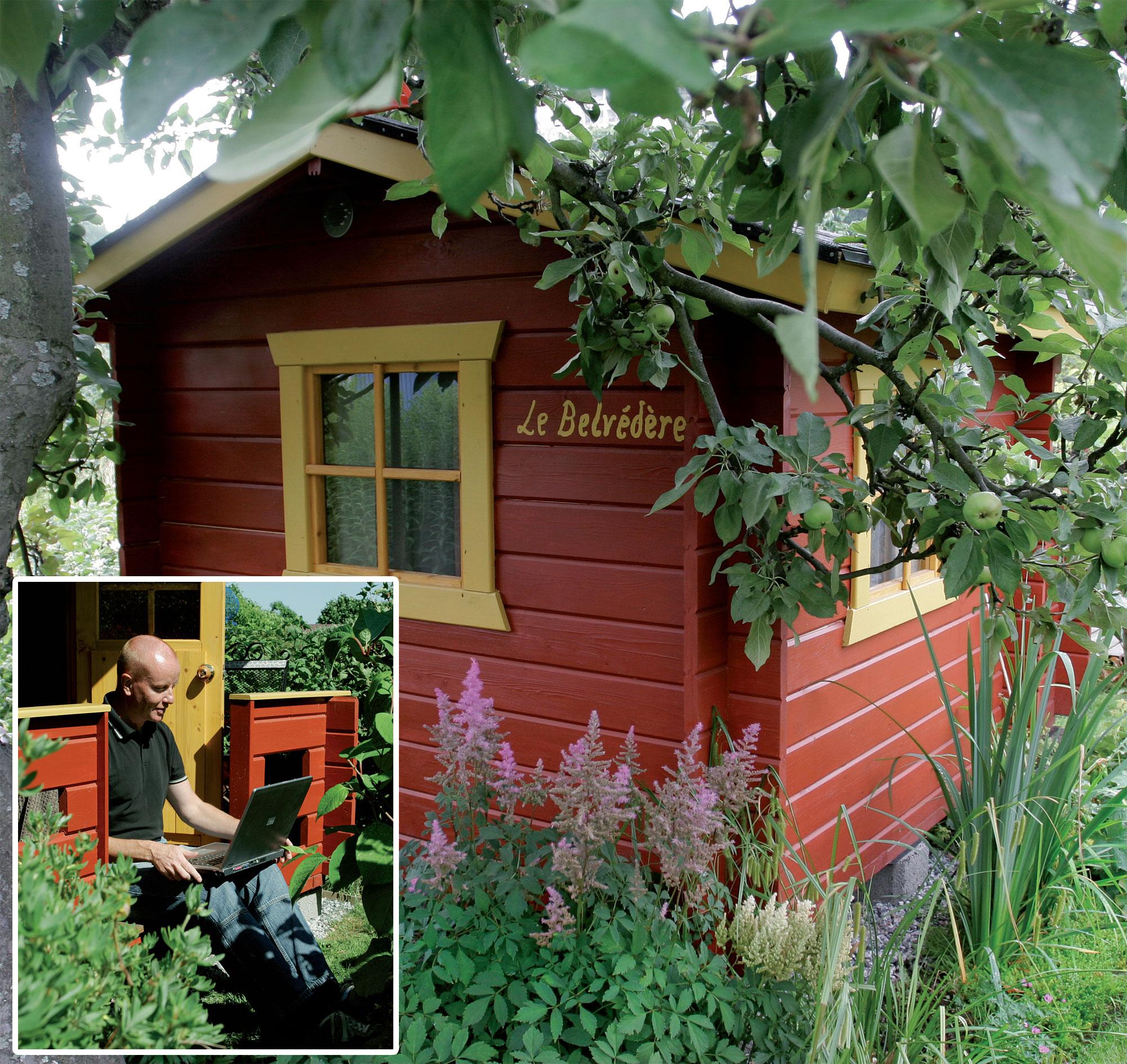 Puutarha on Thomasille inspiraation lähde. Vanha omenapuu varjostaa hänen Le Belvédère -nimistä työhuonettaan.