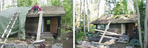 Sauna odotti remontointia pressulla peitettynä kaksi talvea