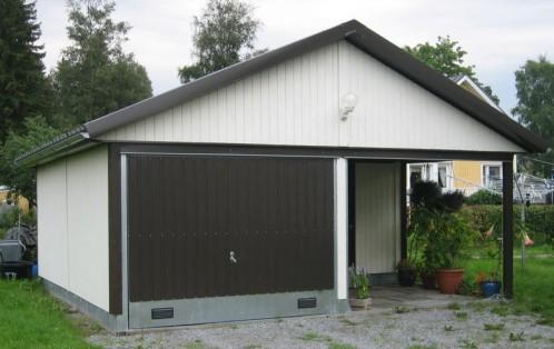 Teräsrunkoinen puuverhoiltu ja eristämätön autotalli + varasto /katos toimitetaan puuvalmiina, Pisari