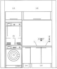 Pyykkikonetta ja kuivausrumpua ei voitu sijoittaa kodinhoitohuoneeseen, koska se on viemäritön tila, mutta ne löysivät paikkansa saunan pesuhuoneesta suihkun ja wc-istuimen vastaiselta seinältä.