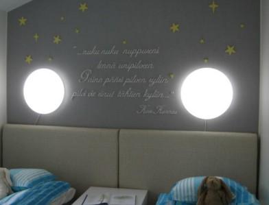 Lasten makuuhuoneeseen on turvallisinta asentaa kiinteät seinävalaisimet