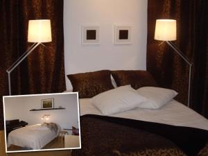 Keskeneräisen ja valjun oloinen makuuhuone muutettiin viihtyisämmäksi uusilla tekstiileillä ja valaisimilla