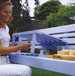 Kun pöytätasoa nostetaan, ruuvit vapautuvat koloistaan ja jalkojen tapit rei istään, jolloin pöytä voidaan taittaa kokoon ja laskea keski-istuimeks