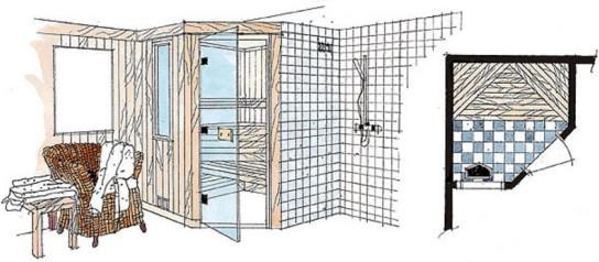 Pientä löylyhuonetta avarrettiin piirtämällä lasiovi kulmaan ja kapea ikkuna löylyhuoneen ja pesuhuoneen väliselle seinälle