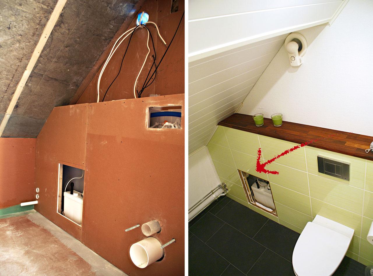 Silppuripumppu koteloitiin wc-istuimen viereen. Kaakeloitu huoltoluukku ei erotu suljettuna ja on helppo avata huoltotoimia varten. Myös koteloinnin päällä oleva massiivipuinen hylly on irrotettava.