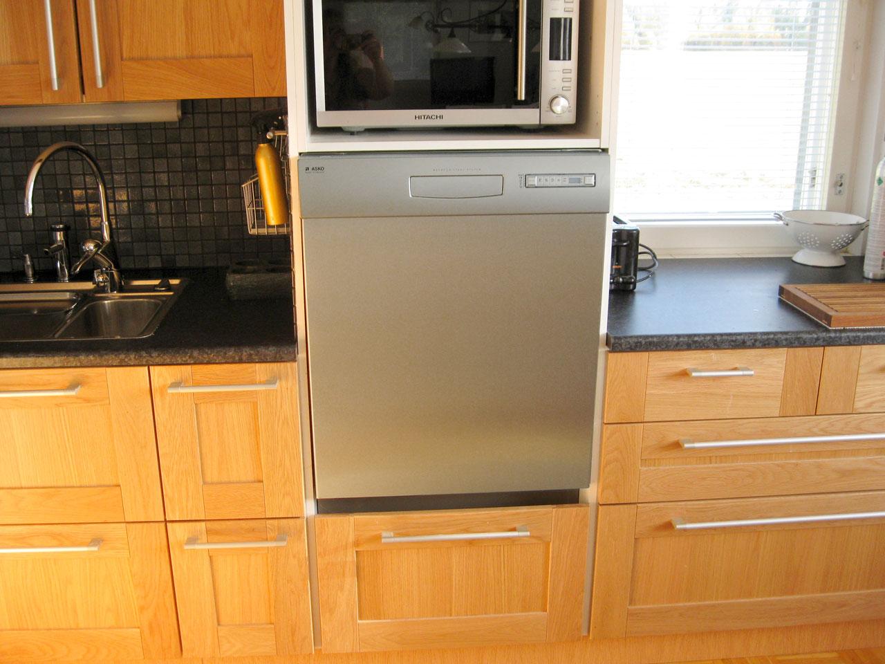 Tiskikone jakaa keittiön ruoanvalmistuksen ja kattamisen kesken. Aterimet, lautaset ja lasit säilytetään laatikoissa tiskikoneen oikealla puolella ja ruoanvalmistusvälineet vasemmalla. Kauhat ja muut välineet sijaitsevat aivan lieden vieressä. Näin ristikkäisliikennettä on mahdollisimman vähän ja esimerkiksi pöydän kattaja ei häiritse ruoan laittajaa.