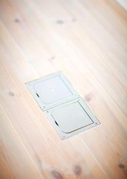 Lattiapistorasioiden ansiosta lampun, television ja kiinteän nettiyhteyden saa vaikka keskelle lattiaa