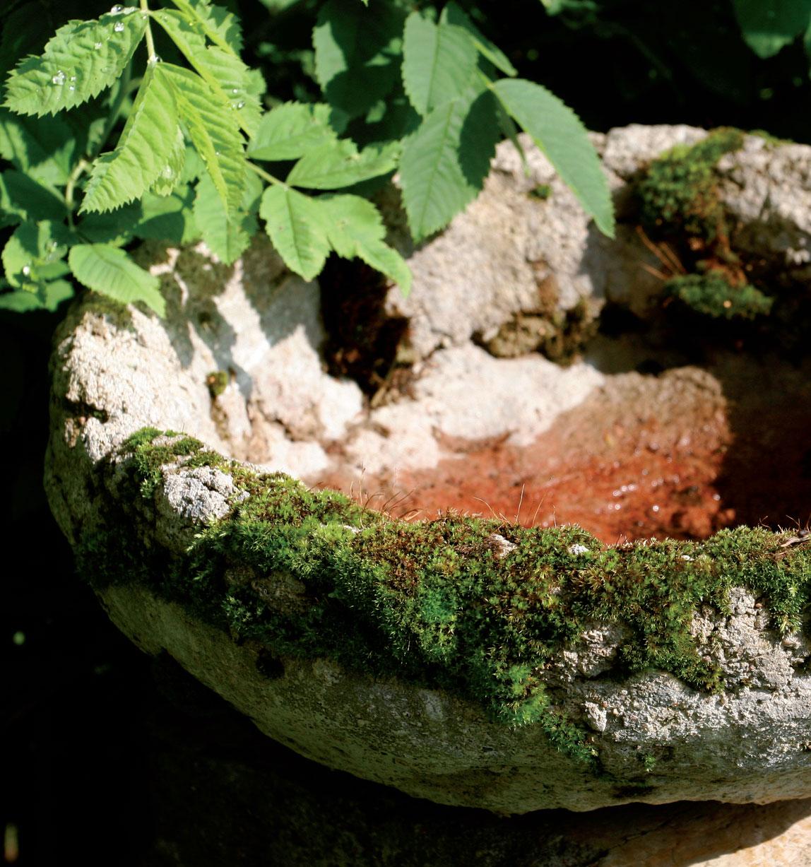 Turpeen, hiekan ja betonin seoksesta muotoiltu astia palvelee lintujen juoma-altaana tai ruukkuna.