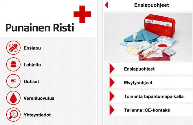 Ensiapu mobiilisovellus Punainen Risti